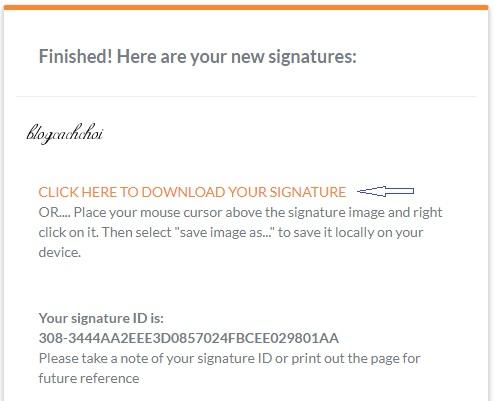 tạo chữ ký theo tên