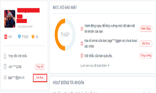 Thay đổi email garena